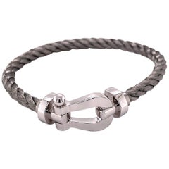 """Force 10"" Bracelet by Fred, White Gold and Stainless Steel"
