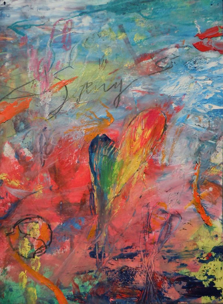 A SORRY HEART - green, blue, pink, yellow abstract painting with symbols