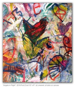 ANGELS IN FLIGHT - colorful abstract painting with hearts and symbols