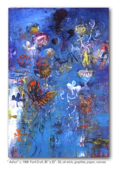 ASHUR - blue abstract painting with symbols