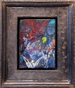 BATTLE FOR THE MOON - small abstract painting with figures and incised frame