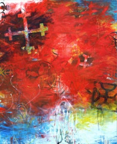 BATTLE OF JACOB'S FORD - abstract red, blue and yellow painting with symbols