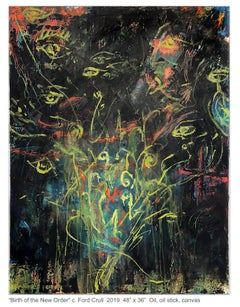 BIRTH OF THE NEW ORDER - black and yellow abstract painting with symbols