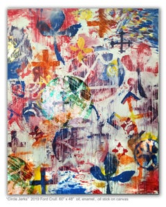 CIRCLE JERKS - large colorful abstract painting with symbols