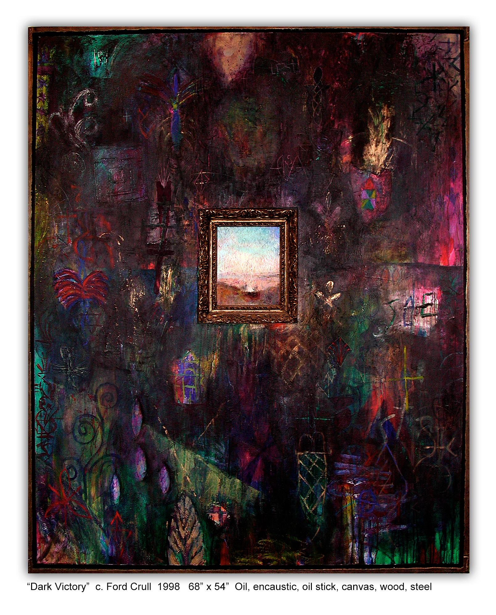 DARK VICTORY - large dark abstract painting with symbols
