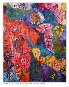 I SEE YOU - colorful abstract painting with symbols and eye