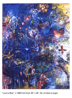 LOVE IS BLUE - large blue and yellow abstract painting with symbols