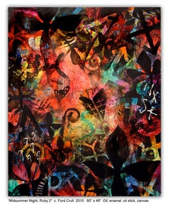 MIDSUMMER NIGHT RUBY 2 - large colorful abstract painting with symbols