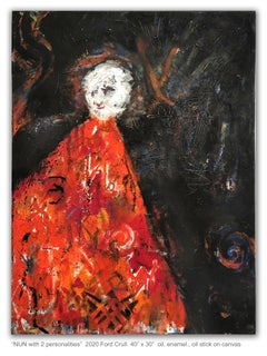 NUN WITH TWO PERSONALITIES - red and black figurative painting