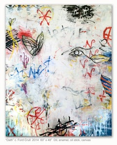 OATH - large white, blue, red abstract painting with symbols