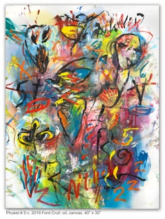 PHUKET #5 - yellow, blue, green, pink abstract painting with symbols