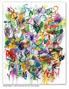 PHUKET NIGHT #2 - green, blue, pink, yellow abstract painting with symbols