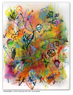 PHUKET NIGHT - green, orange, pink, yellow abstract painting with symbols