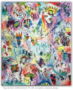 SAY IT AIN'T SO - large colorful abstract painting with symbols