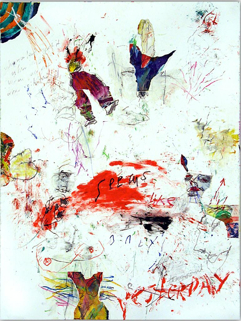 SEEMS LIKE ONLY YESTERDAY - colorful abstract painting with symbols