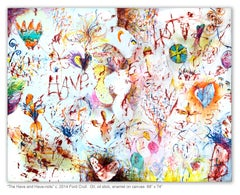 THE HAVES AND THE HAVE-NOTS - colorful abstract painting with symbols and words