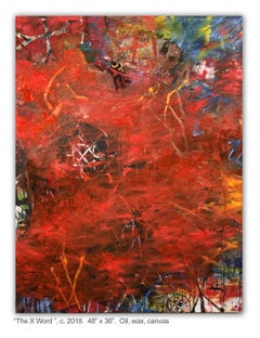 THE X WORD - red abstract painting with symbols