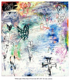 WHITE LIGHT, WHITE HEAT - large colorful abstract painting with symbols