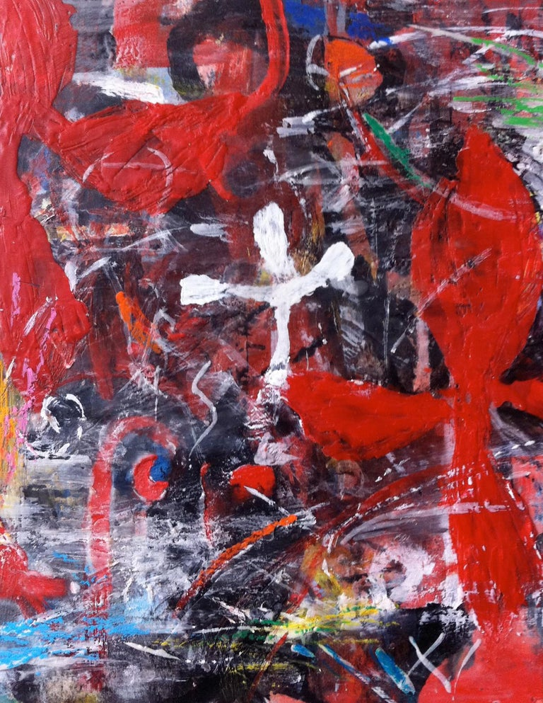Ford Crull Abstract Painting - WHITE ROSE #14 - colorful abstract red painting with symbols