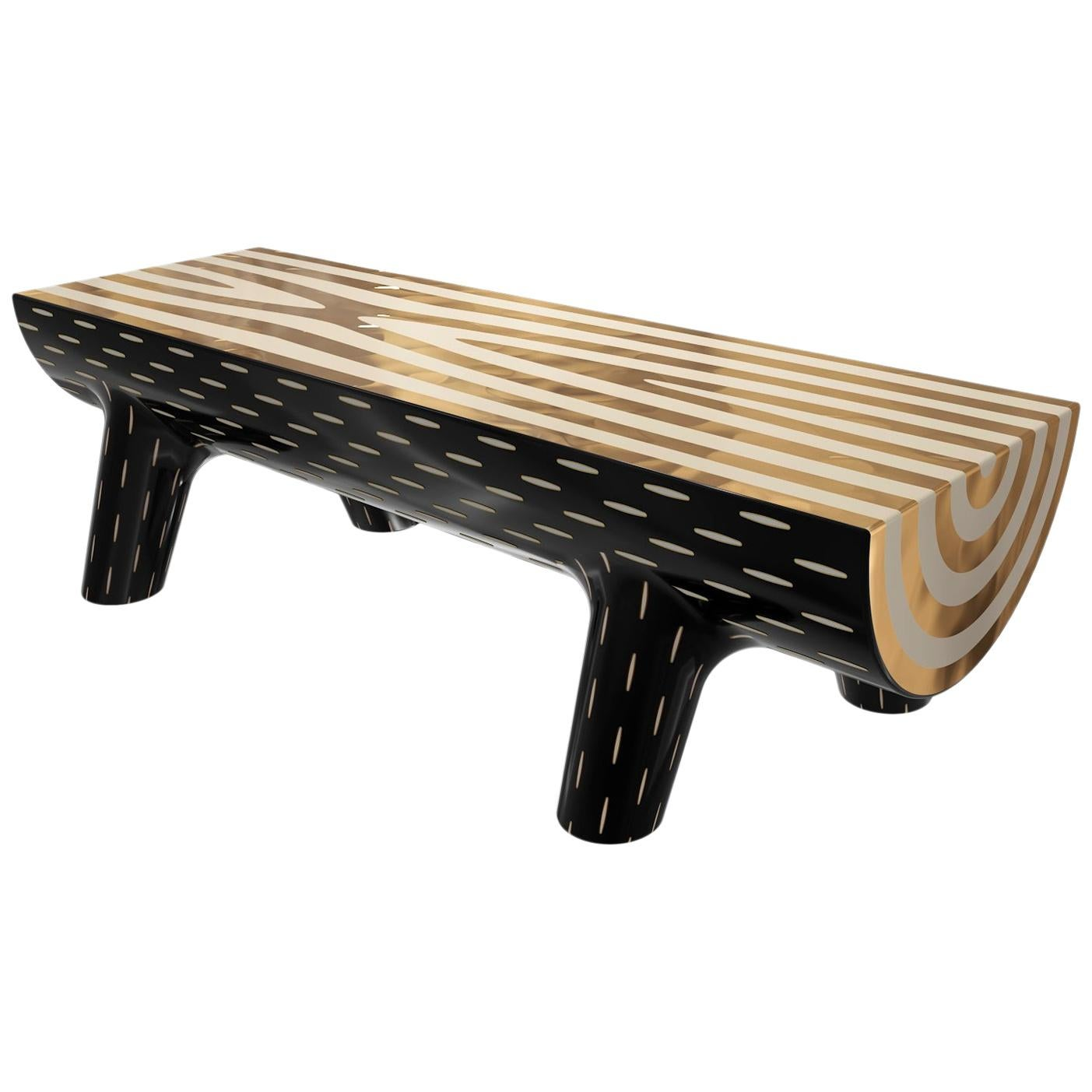 Forest Bench with Brass Inlay by Marcantonio