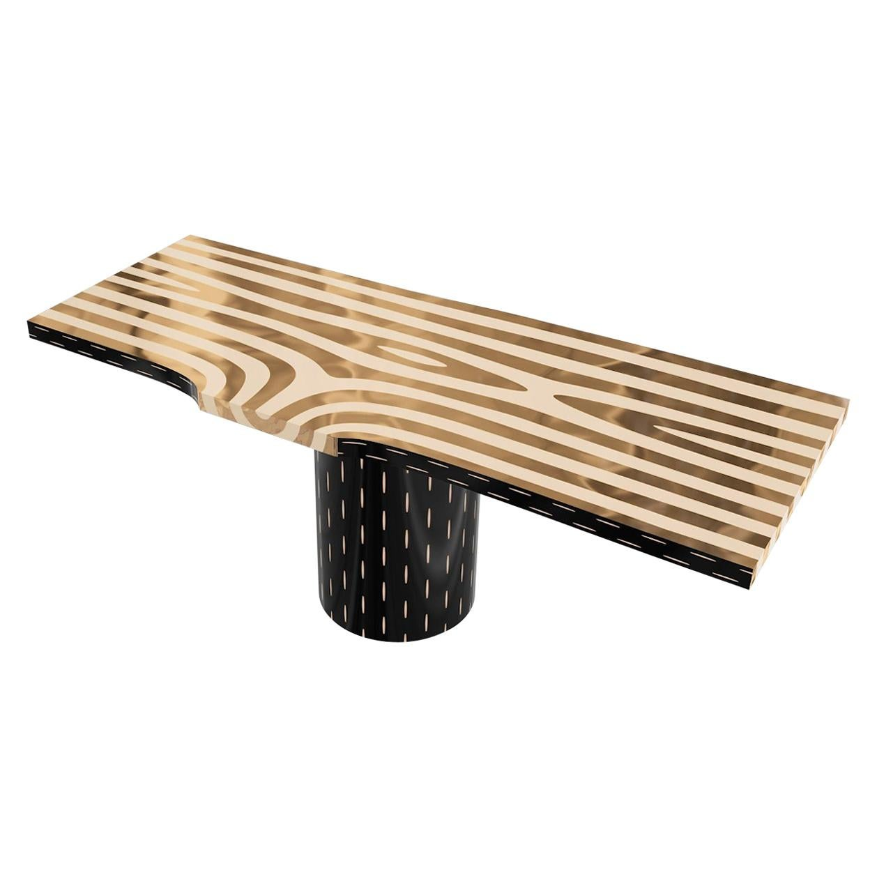 Forest Dining Table with Brass Inlay by Marcantonio