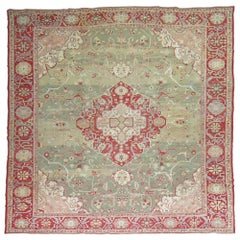Forest Green Antique Turkish Oushak Carpet