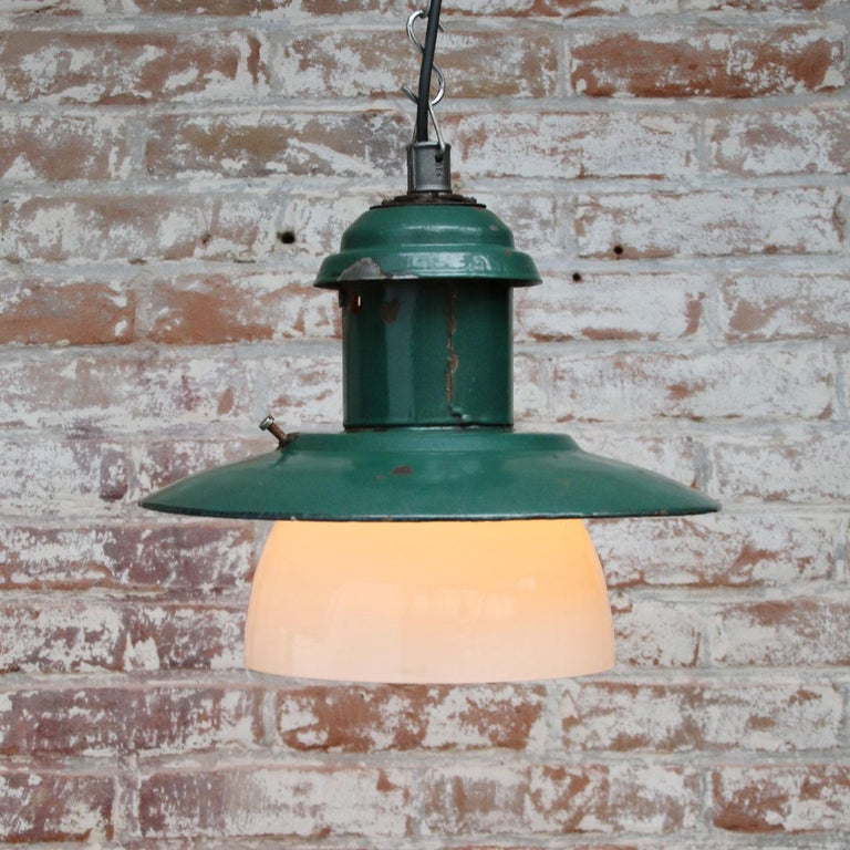 Forest Green Enamel Vintage Industrial Opaline Glass Pendant Lights  In Good Condition For Sale In Amsterdam, NL