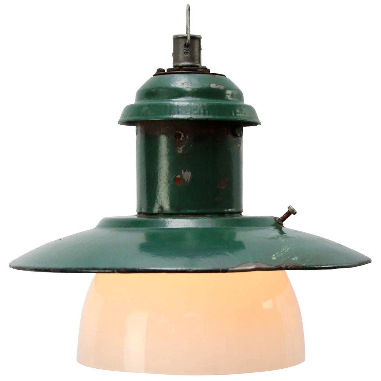 Forest Green Enamel Vintage Industrial Opaline Glass Pendant Lights