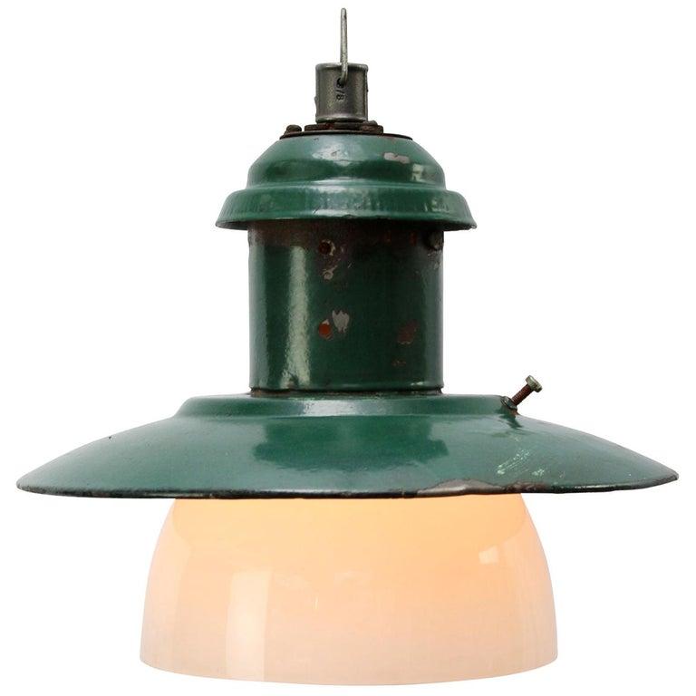 Forest Green Enamel Vintage Industrial Opaline Glass Pendant Lights  For Sale