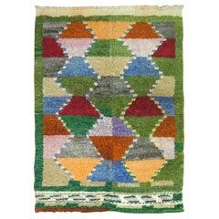 Forest Green Vintage Turkish Scandinavian Inspired Tulu Throw Rug