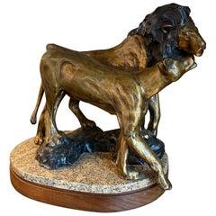 Forest Hart Bronze Sculpture of Lions