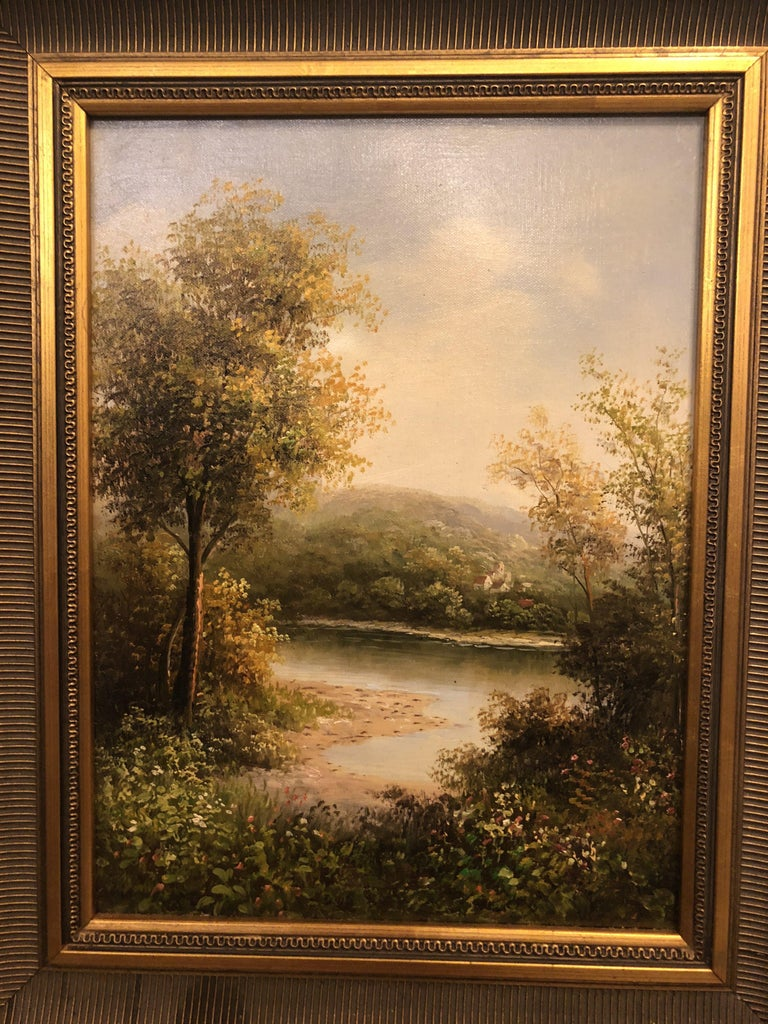 An exquisite oil on canvas landscape painting featuring a relaxing forest scene. The gilt frame is beautifully carved and adds elegance to the painting.  A classical and artsy addition to your wall decoration.