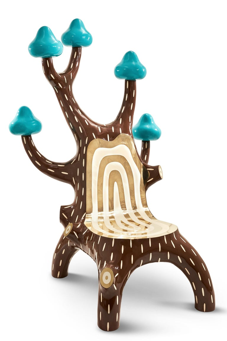Forestlounge chair with brass inlay by Marcantonio, is a luxurious, pop chair, a conversation piece in any space. It is covered in brass