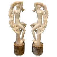 """""""Forest Nymphs,"""" Pair of Art Deco Female Nude Sculptures, Alabaster, 1937"""