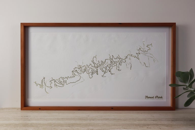 Beautiful Minimalist limited edition letter pressed topographic map of Portland's Forest Park with gold embossed hiking and running trails by designer Allison Bryan. Forest Park is on of the United State's largest urban forest reserves, and was