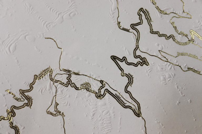 Organic Modern Forest Park Letter Pressed Map with Embossed Trails in Salvaged Fir Frame For Sale