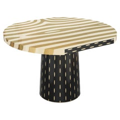 Forest Round Dining Table with Brass Inlay by Marcantonio