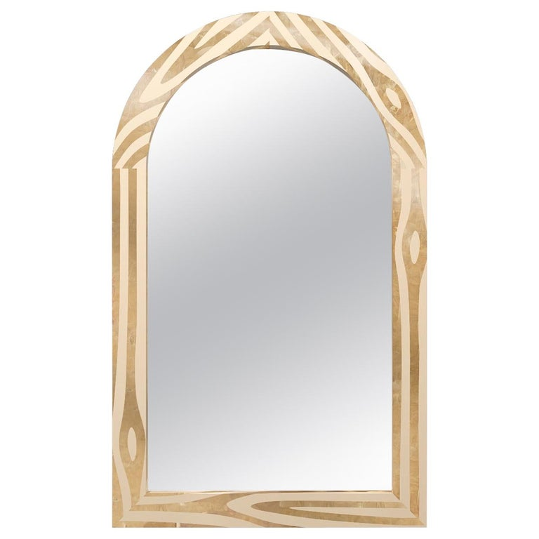Forest Wall Console Mirror with Brass Inlay by Marcantonio For Sale