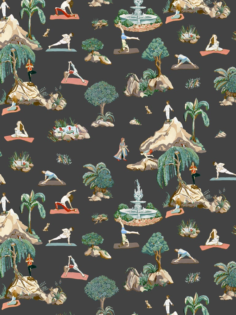 Modern Forest Yoga, Natural Color-Way, Latex Inks on Eco-Friendly Smooth Wallpaper For Sale