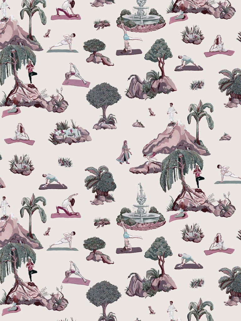 American Forest Yoga, Natural Color-Way, Latex Inks on Eco-Friendly Smooth Wallpaper For Sale