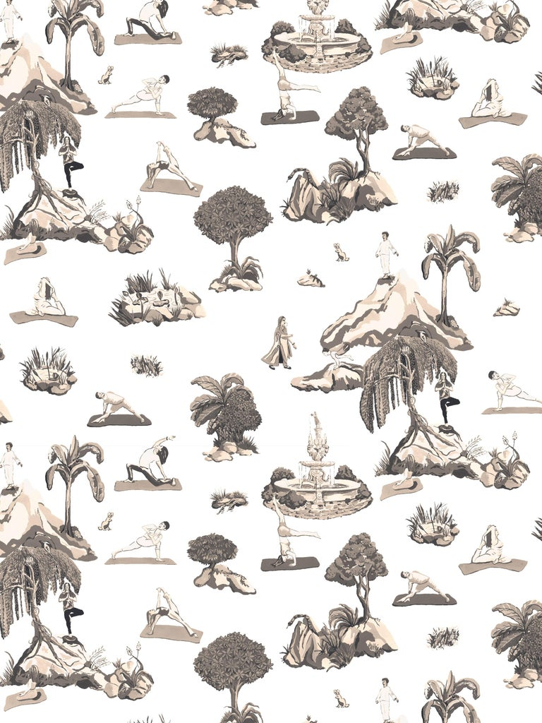 Contemporary Forest Yoga, Natural Color-Way, Latex Inks on Eco-Friendly Smooth Wallpaper For Sale