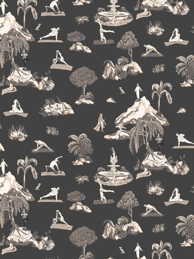 Paper Forest Yoga, Natural Color-Way, Latex Inks on Eco-Friendly Smooth Wallpaper For Sale