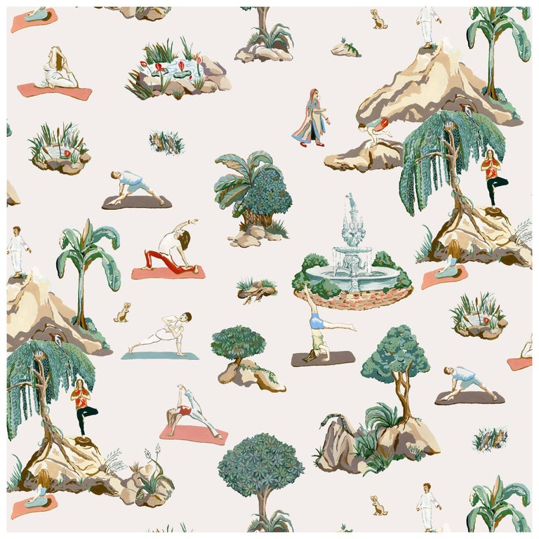 Forest Yoga, Natural Color-Way, Latex Inks on Eco-Friendly Smooth Wallpaper For Sale