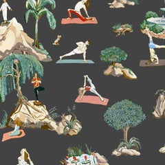 Forest Yoga, Natural on Charcoal Color-Way, Eco-Friendly Smooth Wallpaper