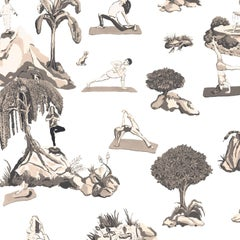 Forest Yoga, Sepia Color-Way, Eco-Friendly Smooth Wallpaper