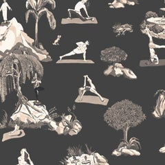 Forest Yoga, Sepia on Charcoal, Eco-Friendly Smooth Wallpaper