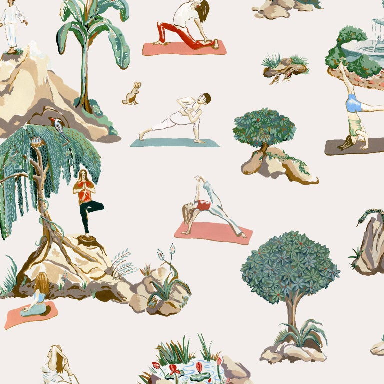 Modern Forest Yoga Wallpaper Natural on Charcoal Color Way on Smooth Paper For Sale