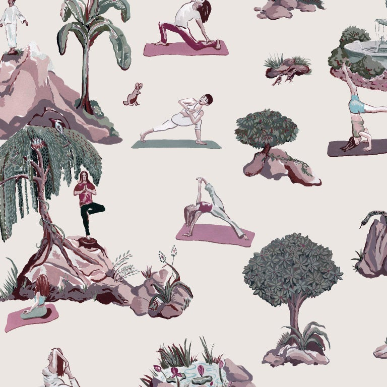 American Forest Yoga Wallpaper Natural on Charcoal Color Way on Smooth Paper For Sale
