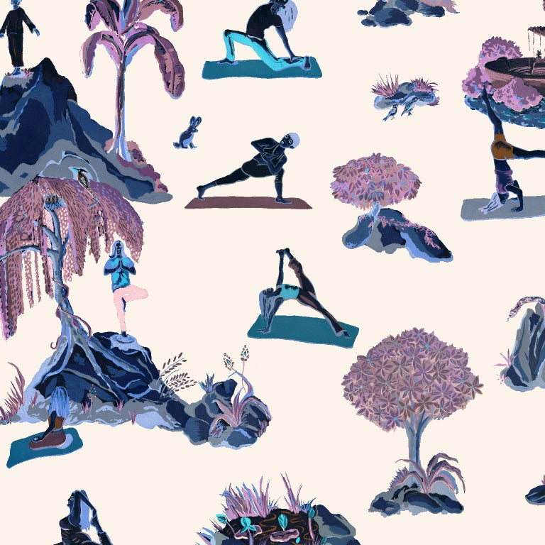 Forest Yoga Wallpaper Natural on Charcoal Color Way on Smooth Paper In New Condition For Sale In Astoria, NY