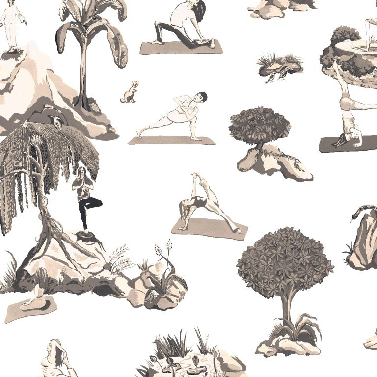 Contemporary Forest Yoga Wallpaper Natural on Charcoal Color Way on Smooth Paper For Sale